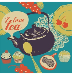 Tea with cakes vector image