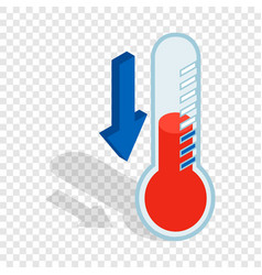 Thermometer with low temperature isometric icon vector