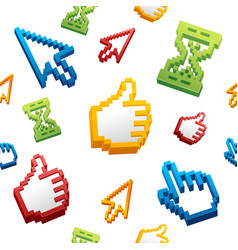 Thumbs up sign computer cursor and arrows pattern vector