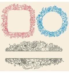 Vintage flower frames vector image vector image