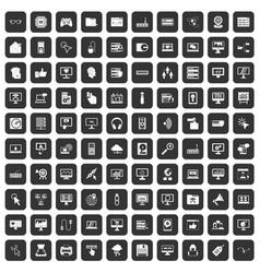 100 computer icons set black vector