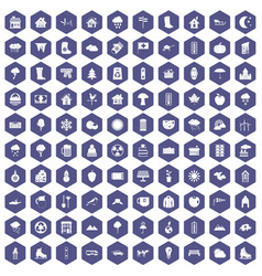 100 country house icons hexagon purple vector