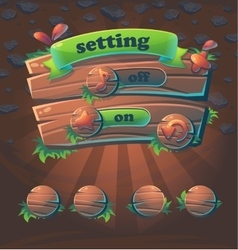 Wooden user interface window setting vector
