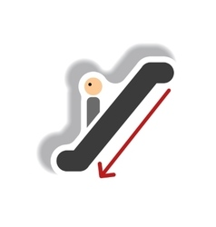 Stylish icon in paper sticker style escalator down vector