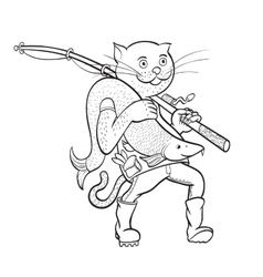 Cat fisherman linear figure vector