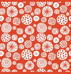 Big polka dot red sketch pattern vector