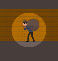 cartoon caught a burglar by the wall vector image