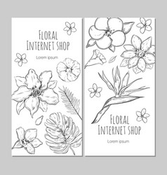 hand drawn exotic plants vertical banners vector image