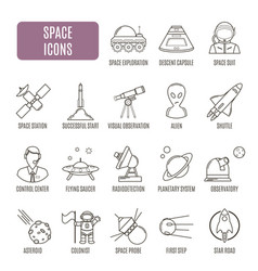 Space icons set of pictogram vector