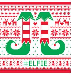 Elfie christmas seamless pattern ugly jum vector