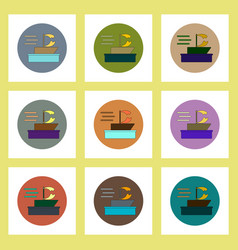 Flat icons set of broken sail in storm concept on vector