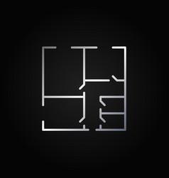 Floor plan minimal silver icon vector