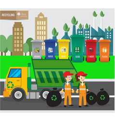 Waste recycing infographic and green ecology vector