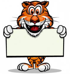 Cute tiger with sign vector