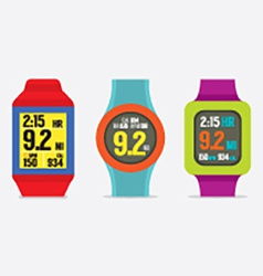 Set of colorful sport watches vector