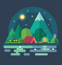 Night landscape in the mountains vector