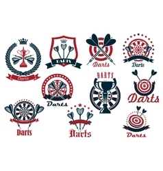 Darts game sporting club icons vector