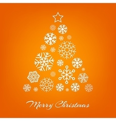 Christmas tree from white snowflakes on vector