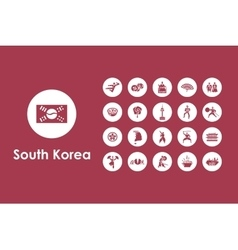 Set of south korea simple icons vector