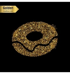 Gold glitter icon of donut isolated on vector