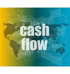 Business words cash flow on digital screen showing vector