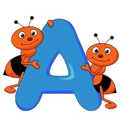 Alphabet A with ant cartoon vector image