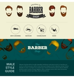 Barber shop or hairdresser background set with vector