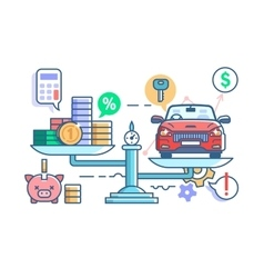 Car and money on scales vector