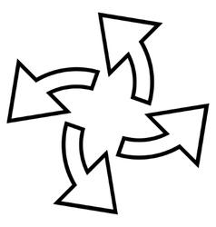 Centrifugal arrows contour icon vector