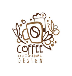 coffee to go hand drawn original logo design with vector image vector image