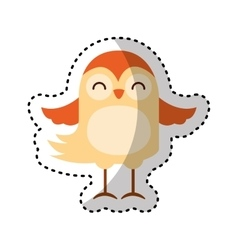 Cute bird character icon vector