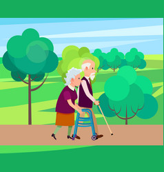 grandfather with walking stick and senior woman vector image