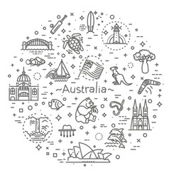 graphic set australian culture animals vector image vector image