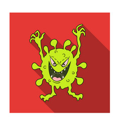 green virus icon in flat style isolated on white vector image