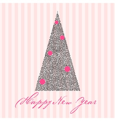 greeting card with new year tree vector image vector image
