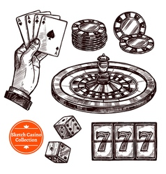 Hand Drawn Sketch Casino Collection vector image vector image