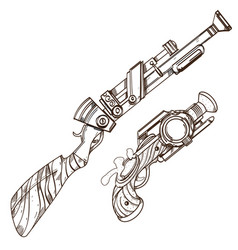 hand drawn vintage weapons outline isolated on vector image