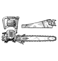 Hand saw and chainsaw vector