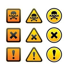 Hazard warning symbols set vector image vector image