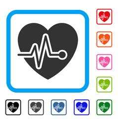 heart pulse framed icon vector image