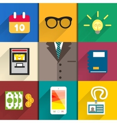 Icons set of office accessories vector image vector image