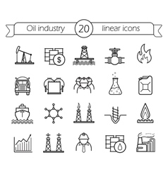 Oil industry linear icons set vector