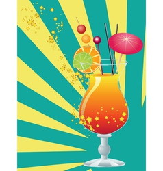 Orange cocktail with decorations vector image