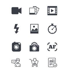 Photo video icons camera photos and frame vector