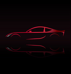 red sports car silhouette on black background vector image vector image