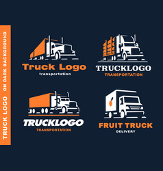 Set of four logo with truck and trailer vector