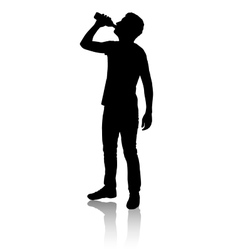 Silhouette of a man who drinks water from bottle vector image