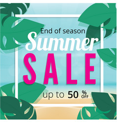 Summer sale discount end of season banner vector