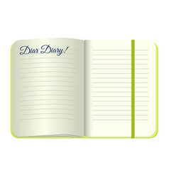 Template open a blank notepad with the words dear vector