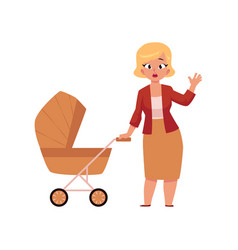 young worried woman mother standing with baby vector image